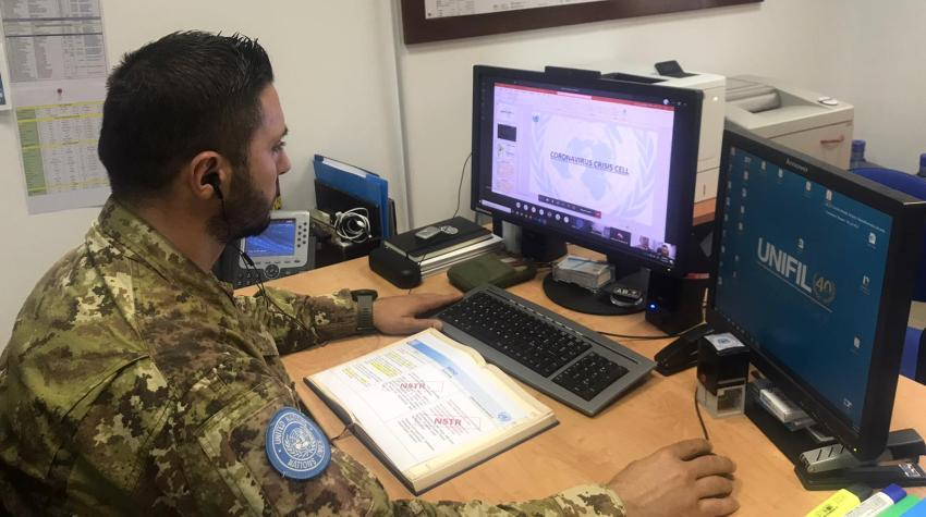 Major Stefano Parisi attending a UNIFIL Coronavirus Crisis Cell (CCC) meeting via Microsoft Teams at UNIFIL headquarters in Naqoura Municipality, south Lebanon, on 30 March 2020. Photo: Lt. Col. Prakash Lamichhane / UNIFIL