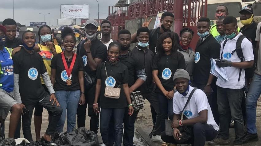 Participants in the Young African Leaders Initiative (YALI) Network Rivers Hub during a community service exercise at Eleme in Rivers State, Nigeria. 29 August 2020. yalirivershub Photo/Instagram