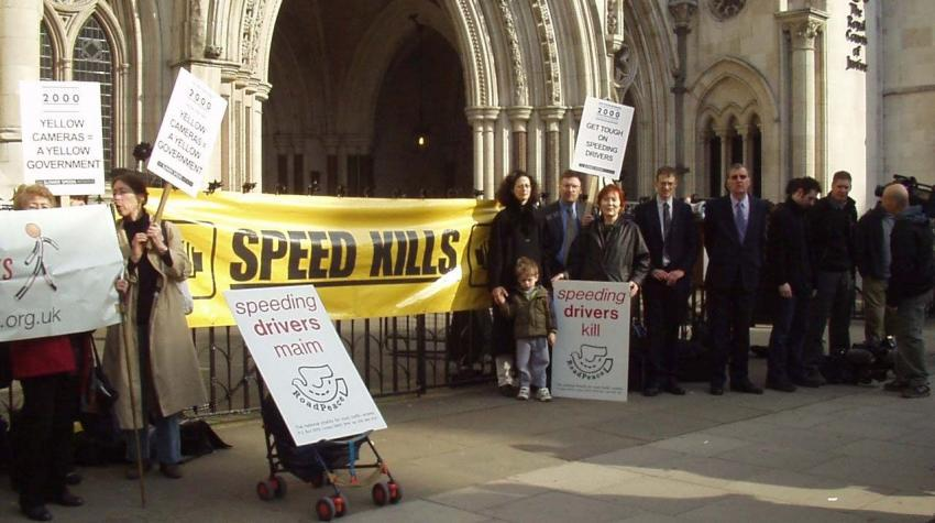 Protest connected with speed cameras, outside the High Court in London, 2003. Photo courtesy of the author.