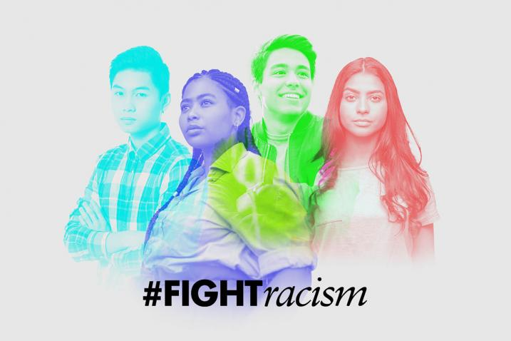 Outlines in colour of four different young people with hashtag #FIGHTracism