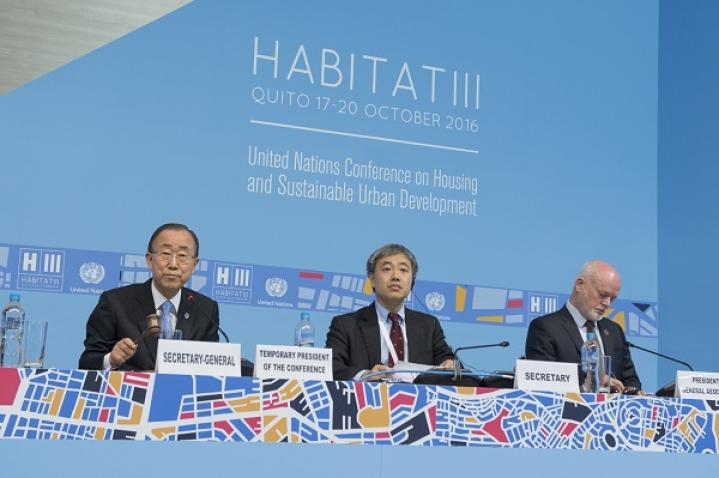 Secretary-General Ban Ki-moon chairing the opening of the United Nations Conference on Housing and Sustainable Urban Development, HABITAT III.