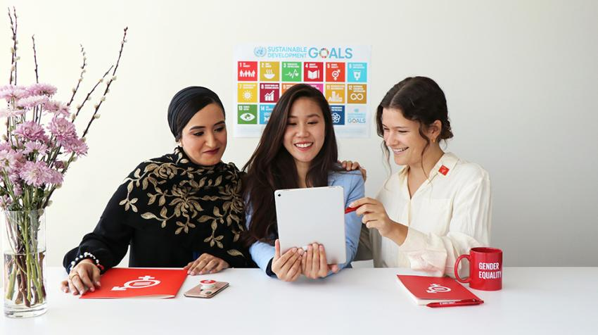 Interns at United Nations Headquarters in New York.