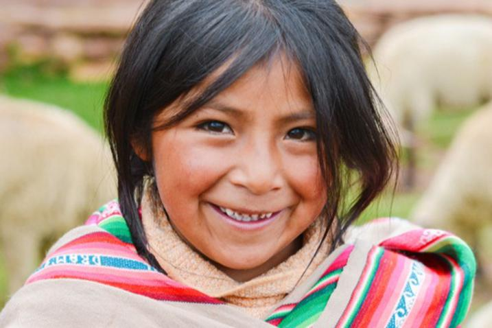 Portrait of an indigenous girl from the Andes.