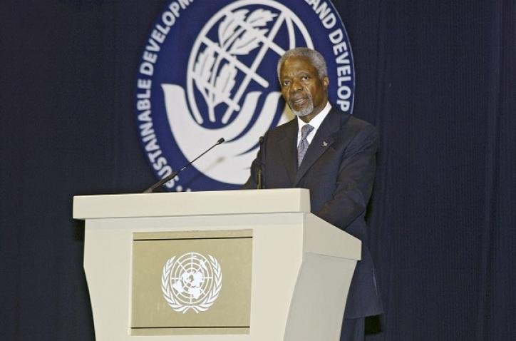 Secretary-General Kofi Annan delivers his statement at the opening of the high-level General Debate on the Programme of Action for the Sustainable Development of Small Island Developing States at Port Louis, Mauritius.
