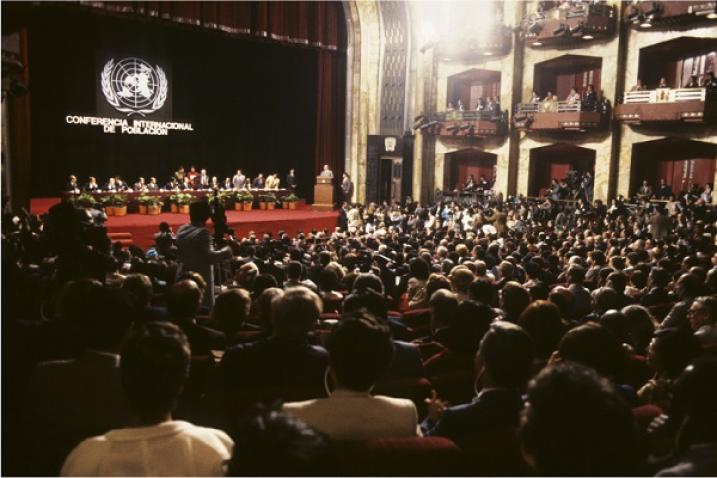 View of the hall where the Mexico City conference took place.