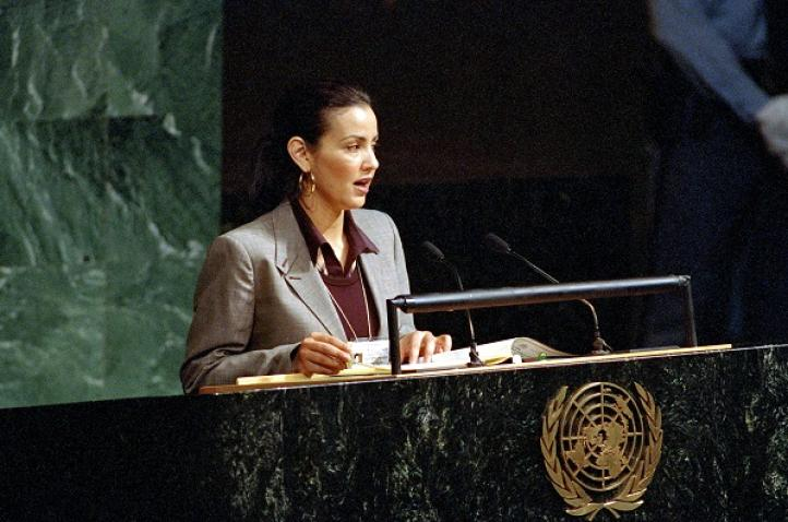 Princess Lalla Meryem of the delegation of the Kingdom of Morocco, speaks during the special General Assembly session on children in New York.