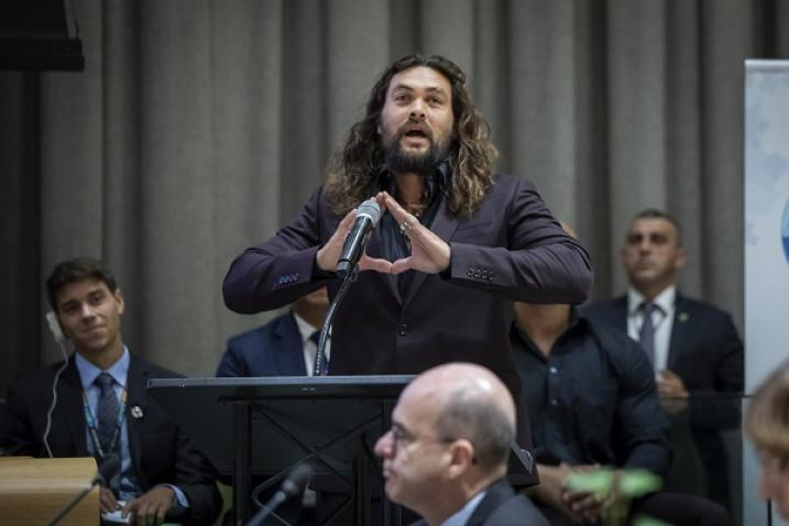 Jason Momoa, actor and ocean advocate, speaks at the high-level meeting in New York.