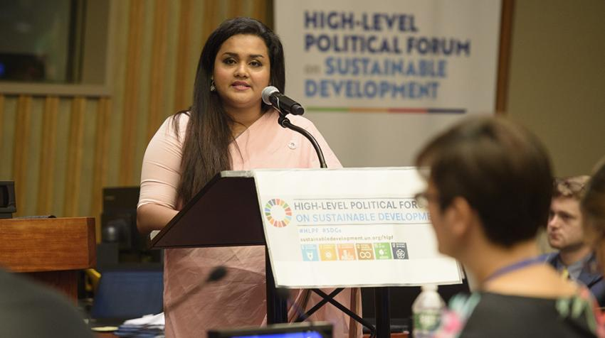Jayathma Wickramanayake, Secretary-General's Envoy on Youth, makes remarks during the High-Level Political Forum on Sustainable Development.