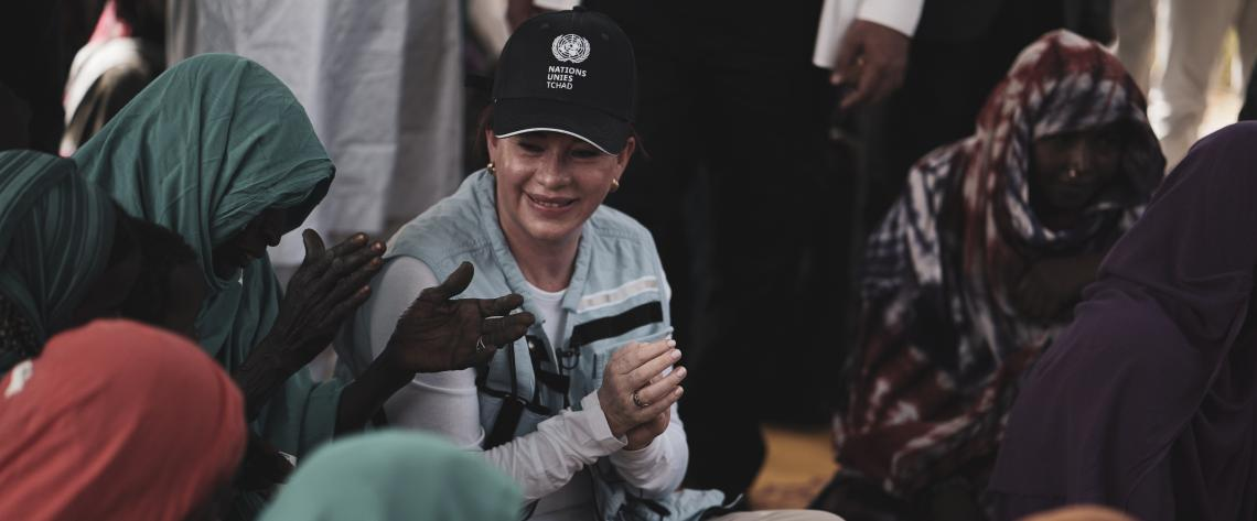 María Fernanda Espinosa, President of the 73rd session of the General Assembly, visits a humanitarian/development project on resilience and livelihoods in the IDP host village of Matafo, Bol, Lake Chad region, Chad, 5 May 2019. UN Photo