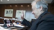 Secretary-General António Guterres in a video call