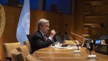 Secretary-General António Guterres participates in a meeting remotely.
