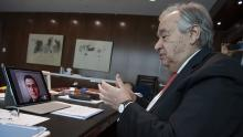 Secretary-General António Guterres speaks online with a former Syrian refugee, cardiologist Dr. Heval Kelli.
