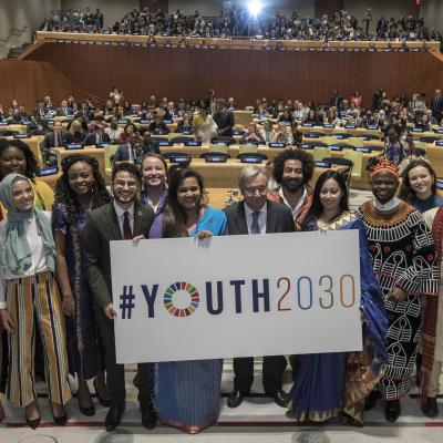 Secretary-General António Guterres launched Youth 2030, the United Nations Youth Strategy, at a high-level Event held at United Nations Headquarters in New York, 24 September 2018. Photo Credit: Mark Garten/UN Photo 