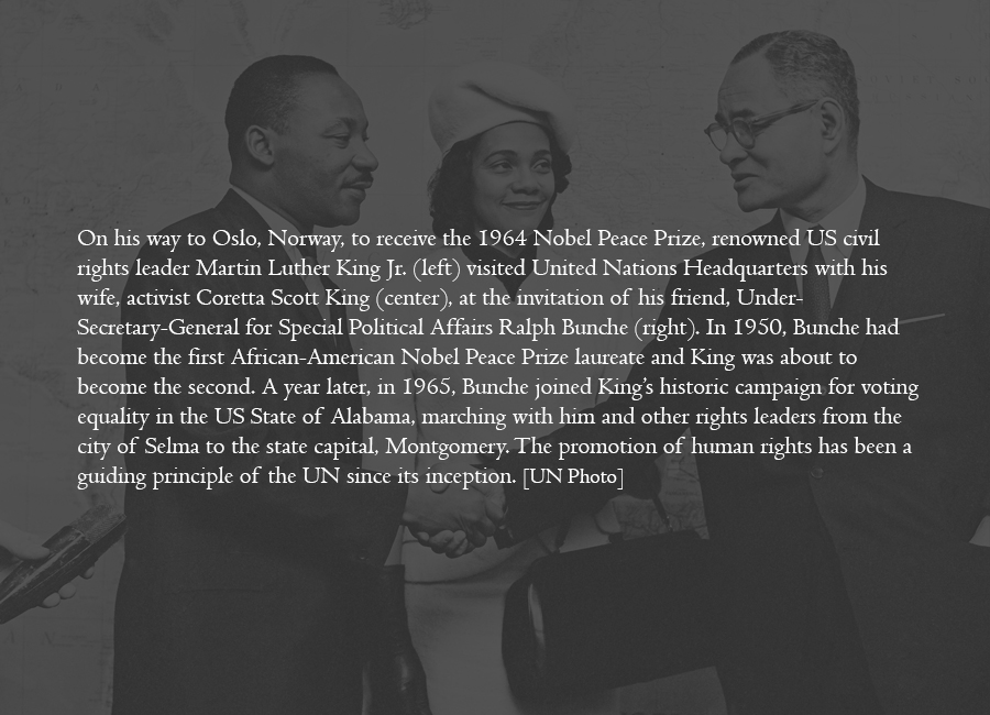 1964 - Celebrated rights leader Martin Luther King Jr. visits the UN