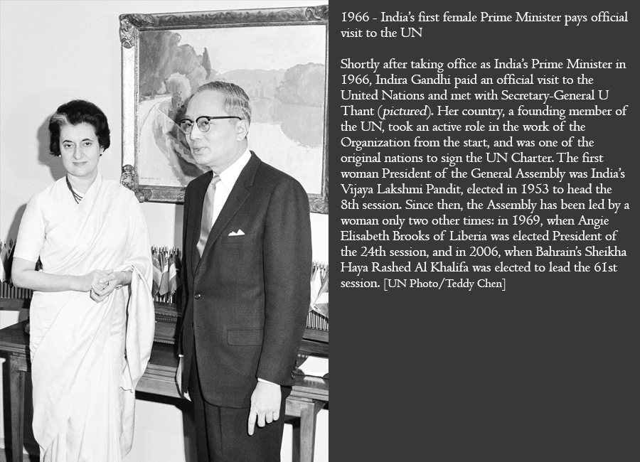 1966 - India's first female Prime Minister pays official visit to the UN