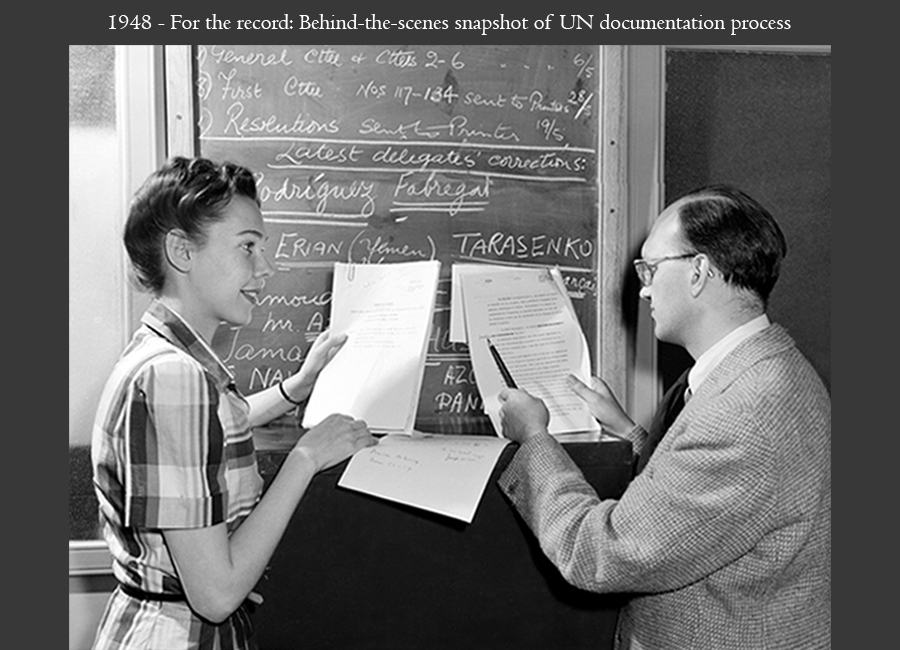 1948 - For the record: Behind-the-scenes snapshot of UN documentation process