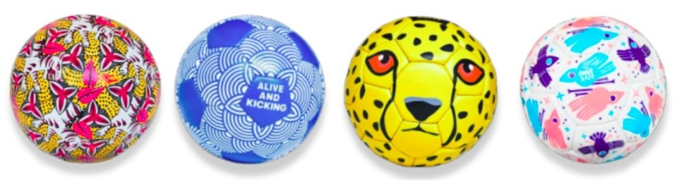 four painted dreamballs