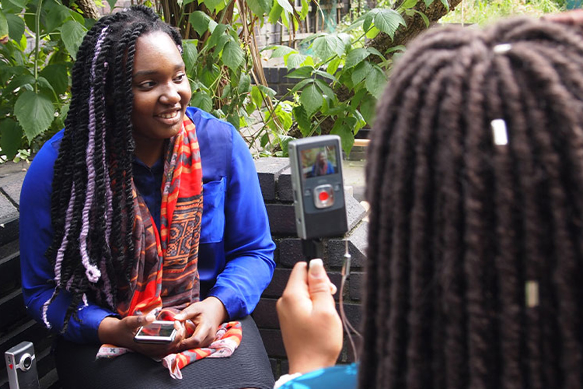 A young woman being interviewed