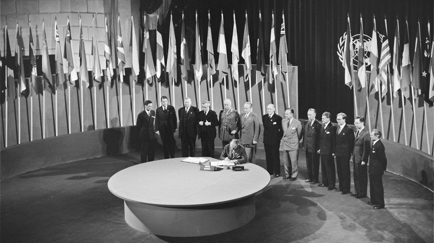 The Ambassador of Norway signing the UN Charter in 1945.