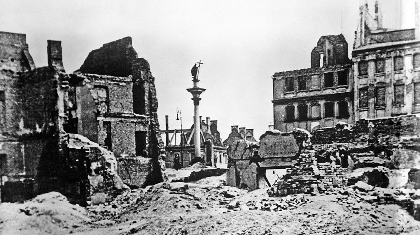 The city of Warsaw, Poland in ruins after World War Two.