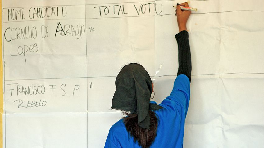 An election worker counting votes at the Second National Village Council elections of 9 October 2009 in Dili, Timor-Leste.