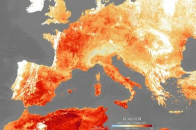 Image, supplied by the European Space Agency, shows the land surface temperature on 25 July 2019, amid the European heatwave.
