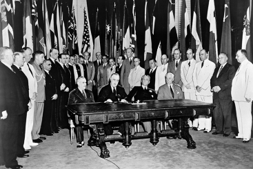"Representatives of 26 Allied nations fighting against the Axis Powers met in Washington, D.C. to pledge their support for the Atlantic Charter by signing the ""Declaration by United Nations""."