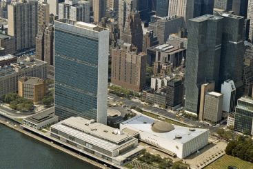 Aerial view of UN Headquarters in New York City.
