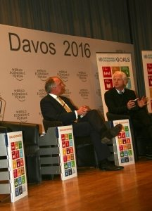 Photo: SDG Advocates Paul Polman and Richard Curtis speak at the event on 21 January in Davos, Switzerland. UN/Kito Mbiango