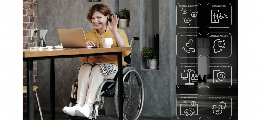 Woman in a wheelchair communicating virtually
