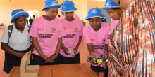 Members of the Girls in Tech Club learn about AI and machine learning in Lesotho.