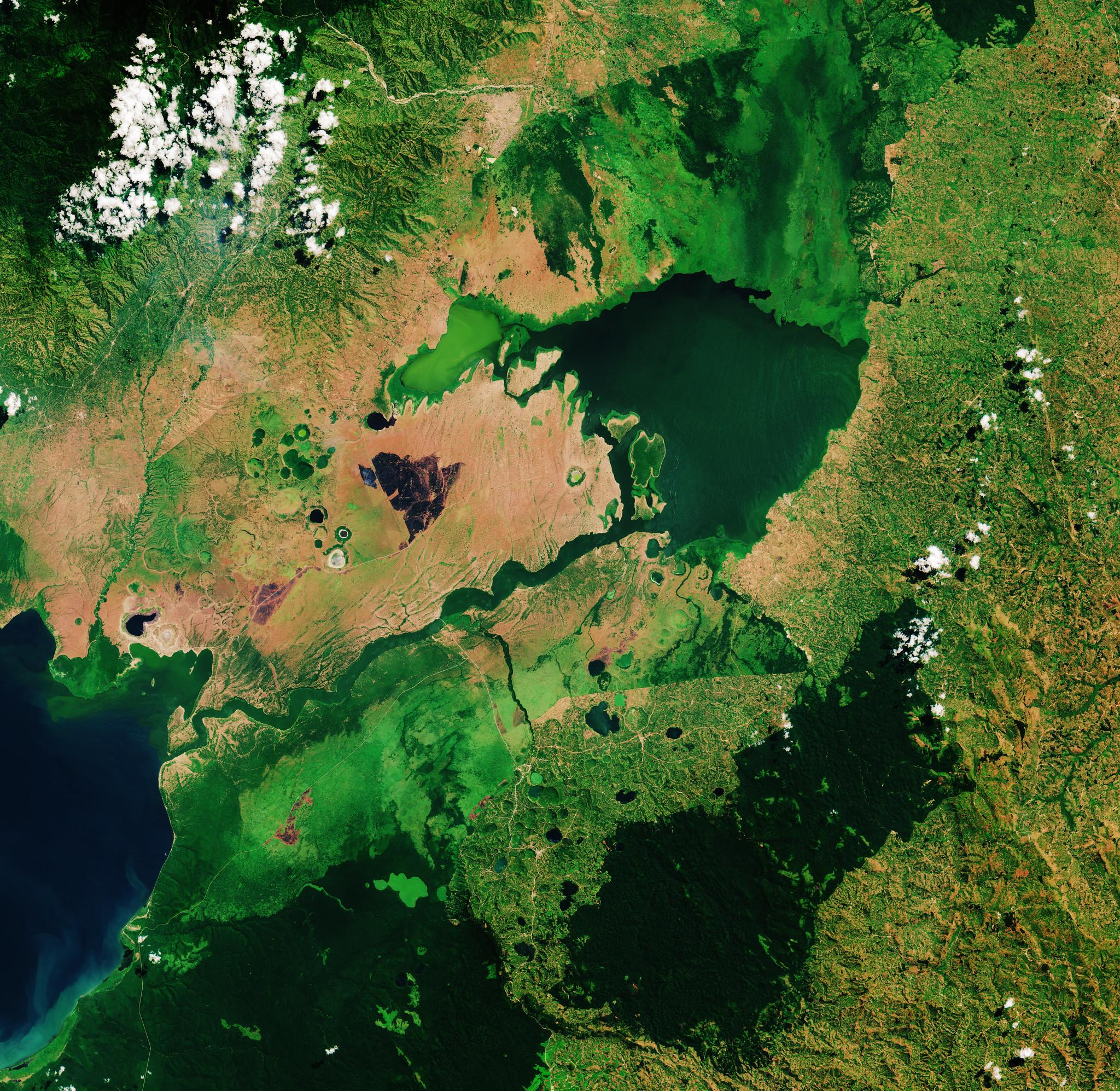 Seen from above, the waters of Lake George, Uganda.