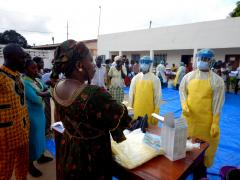 Guinea's frontline healthcare workers receive practical training in identifying, isolating