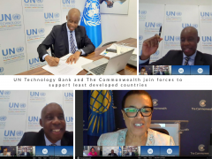 Joshua Setipa, UN Technology Bank's Managing Director and Commonwealth Secretary-General Patricia Scotland signing the MOU.