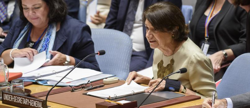 Rosemary A. DiCarlo, Under-Secretary-General for Political Affairs briefing the Council.