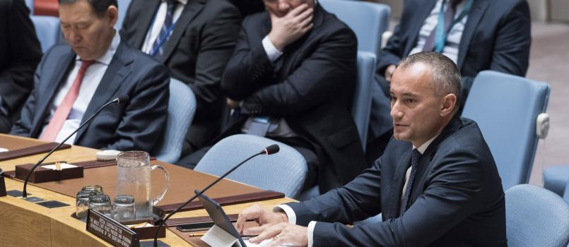 Nickolay Mladenov, UN Special Coordinator for the Middle East Peace Process and Personal Representative of the Secretary-General to the Palestine Liberation Organization and the Palestinian Authority, briefs the Security Council on the situation in the Middle East, including the Palestinian question.