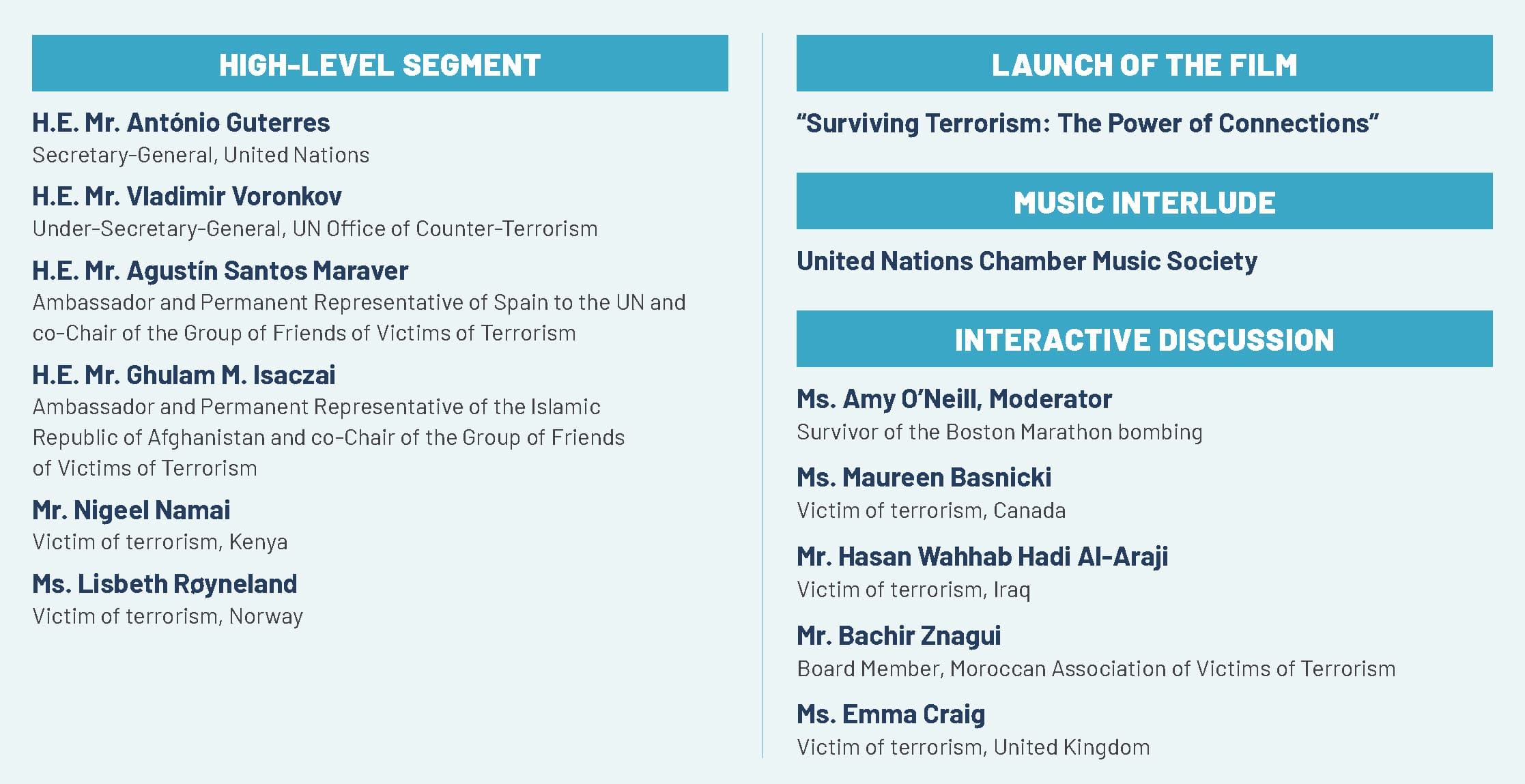 Graphic of the Programme for International Day of Remembrance and Tribute to the Victims of Terrorism 2021
