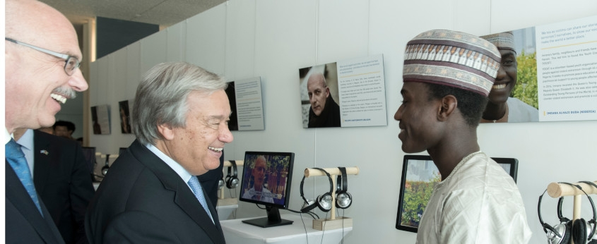 SG Guterres and USG Voronkov greet Imrana Buba, victims exhibit on 17 Aug 2018