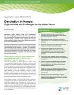 Devolution in Kenya: Opportunities and Challenges for the Water Sector .