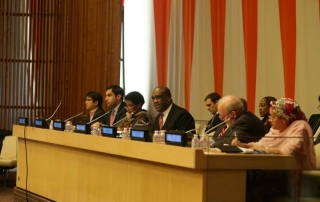 The Secretary-General's Envoy on Youth, Ahmad Alhendawi, and H.E. President of the General Assembly John Ashe during the first day of the high-level event.