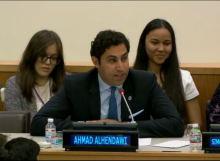 Ahmad Alhendawi, the Youth Envoy, speaks at the event Social and Financial Inclusion for Children and Youth: A post 2015 Agenda dialogue at the UN