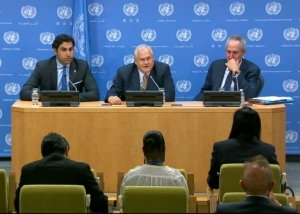 """Martin Sajdik, President of ECOSOC, and Ahmad Alhendawi, UN Secretary-General's Envoy on the Youth Forum: """"#Youth2015: Realizing the future they want""""."""