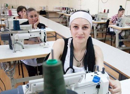 Nino Narmania participates in a tailoring workshop, part of the practical training put in place through an overhaul of Georgia's professional education system. Credit: UNDP/ Daro Sulakauri.