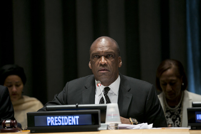 """John Ashe, President of the sixty-eighth session of the General Assembly, addresses the opening of the special event organized by his Office, """"Towards Achieving the Millennium Development Goals (MDGs)"""