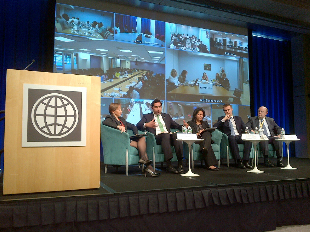 Gloria La Cava, Senior Social Scientist, World Bank; Ahmad Alhendawi, SG's Envoy on Youth; Sabeen Malik, Senior Policy Advisor, U.S. Department of State; Hugh Evans, Co-founder and CEO, The Global Poverty Project; and Oliver R. Bell, Chief Technology Officer, Microsoft.