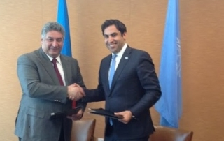 """""""H.E. Azad Rahimov, Minister of Youth and Sport of the Republic of Azerbaijan, and Ahmad Alhendawi, the Secretary-General's Envoy on Youth."""