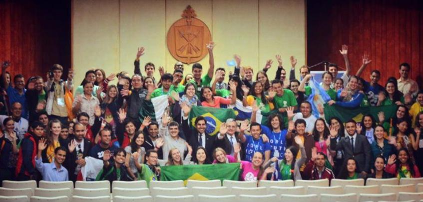 Ahmad Alhendawi with Young Participants in the World Youth Day
