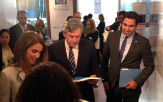 UN Youth Envoy Ahmad Alhendawi with Her Majesty Queen Rania and Gordon Brown, UNSG Special Envoy on Education