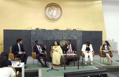 The Global Interactive Dialogue on United Nations Youth Initiatives was moderated by Mr. Alhendawi. UN Photo/Evan Schneider