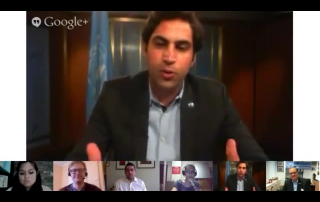 Ahmad Alhendawi and participants during the Google+ Hangout